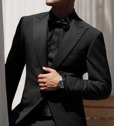 All Black Tuxedo Black Tie Optional Wedding Guest Attire All Black Tuxedo, Black Tuxedo Wedding, Black Suit Men, Wedding Tux, All Black Suit Prom, Black Tie, Black Gold, Wedding Ideas, Mens Fashion Suits