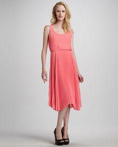 Penny Knife-Pleat Dress - Neiman Marcus