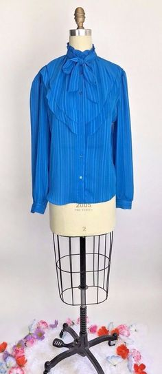 Vintage 70s Blue RUFFLE Pussycat Bow Victorian Lolita secretary blouse top M/L #CaliforniaConnections #casual