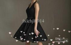 Wholesale Bridesmaid Dress -  Sexy V-nevk Halter Knee Length Bridesmaid Dresses Party Dresses Quinceanera Dress, $68.0 | DHgate