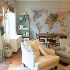 Raleigh, North Carolina town home filled with maps, green glass, antlers and other vintage finds