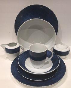 25 Pc Studio Nova Blue Denim Fine Porcelain China Y0725 White & Blue Dinnerware #StudioNova
