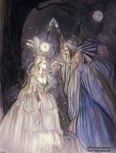 Cinderella being transformed by her Fairy Godmother.    An illustration from the art-book Marchen by Yoshitaka Amano. Image found here-    http://yoshitaka-amano.kouryu.info/page_eng.html