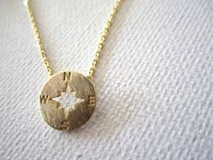 Tiny gold compass necklace..simple handmade jewelry, everyday, north, south, west, east,bridal jewelry,