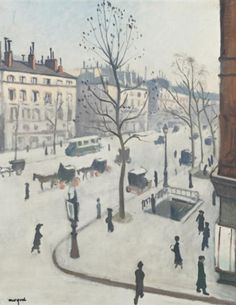 Albert Marquet Paris Boulevard Madeleine (also with Metro entrance). The artist was a friend of Henri Matisse. Henri Matisse, Rio Sena, Spanish Painters, French Artists, Illustrations, Oeuvre D'art, American Artists, Urban Art, Painting & Drawing
