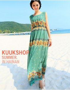 Korean version of Bohemian beach skirt vest skirt dress fairy dress floral summer short-sleeved chiffon