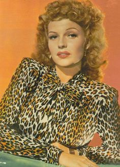Rita Hayworth in leopard print