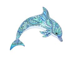 Dolphin watercolor and ink painting, giclee print of original painting done in blues, aquas and greens, inspired by mandala & zentangle art - Ink Painting Dolphin Drawing, Dolphin Painting, Dolphin Art, Ink Painting, Watercolor Paintings, Original Paintings, Dibujos Zentangle Art, Zentangle Drawings, Art Drawings