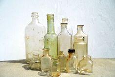 Vintage Bottles Antique Bottles Medicine by PaperWoodVintage, $36.00