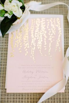 Foil-stamped invitations for weddings in 2016 || This metallic look stems from…