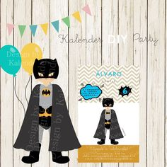 Batman DIY Happy Birthday Invitation Invitación Fiesta Cumpleaños DIY Batman.