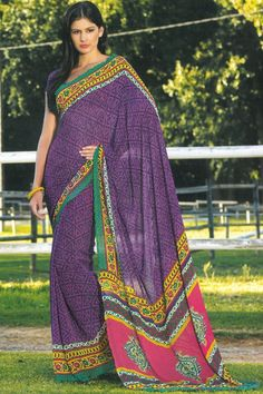 Traditional Printed Casual Saree; Purple Faux Georgette Printed Casual and Party Saree