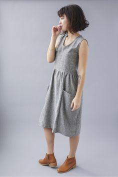 Athens Dress   Grey Chambray — Temperate Clothing