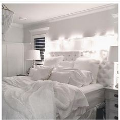 """So cozy and inviting, love @jillian.harris 's bedroom! All white everything."""