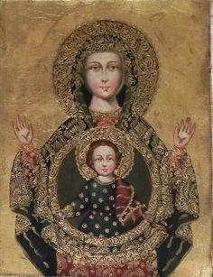 "12"" X 16"" Oil Painting Byzantine Madonna Virgin Mary and Child Peru Cuzco School #CuzcoSchool"