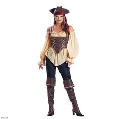 You can quit browsing for Halloween costumes for women now. You've struck gold. This Rustic Pirate Lady Adult Women's Costume is an astounding way to make your Halloween night a haunting experience no matter where you're headed. Includes:• Gold trimmed embossed vinyl corset• Gauze blouse• Pants• Bandana• Gold trimmed boot tops• HatSpecial Shipping Information: This item ships separately from other items in your order. Imported.