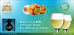 Enjoy 1+1 on IMFL, imported liquors & flat 20% discount on food bill