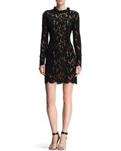 B2JVK Lanvin Velvet Lace Embellished-Neck Dress
