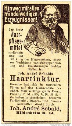 Original-Werbung/ Anzeige 1907 - HAARTINKTUR / JOH.ANDRÉ SEBALD - HILDESHEIM - Ca. 45 X 75 Mm - Werbung