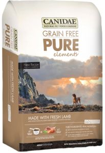 Canidae PURE can be ordered in any flavor and comes in 5 lb, 15 lb and 30 lb bags.  Ask about their frequent buyer program!  apawplace@gmail.com