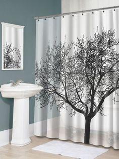 Splash Home Tree EVA Shower Curtain 70 By 72 Inch Black