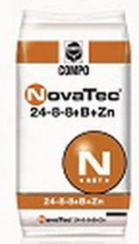 NovaTec® 24-8-8 + B + Zn    Σύνθεση: 24% N (11% νιτρικό και 13%αμμωνιακό), 8% P2O5, (υδατοδιαλυτός 6%), 10%K2O υδατοδιαλυτό   Ιχνοστοιχεία: 0,02% B, 0,01% Zn.  Συσκευασίες: σάκοι των 40 κιλών.