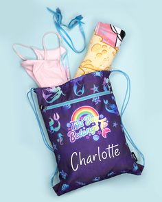 Far away, in the deep purple sea, there are mermaids and turtles and all sorts of aquatic friends to meet! perfect for a swimming bag, or as a gift for a girl who loves mermaids.  Customised with your choice of text.