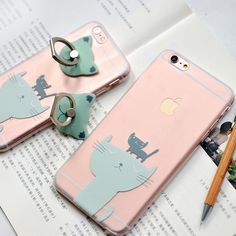 Transparent  Soft  Silicon  Case Back Cover  for  iPhone  6 6S Cute Cat TPU Thin Cover Case for iPhone 6 Plus 6s Plus C1290