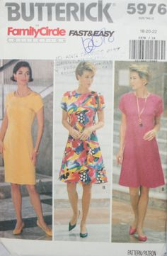 Butterick 5976 Misses Dress Sewing Pattern New/Uncut Size 18-20-22 by PatternDepot on Etsy