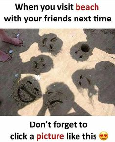 Switch Up The Usual Beach Photos With Funny Sand Faces! Kids Love It 😃Switch up your normal beach photos and let the kids create their own look! Draw funny faces in your shadow and enjoy the laughter:) Beach Humor, Photos Originales, Beach Family Photos, Family Pictures, School Pictures, Beach Party, Beach Trip, Playa Beach, Hawaii Beach