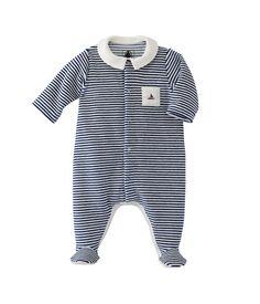 Baby boy striped velour sleepsuit