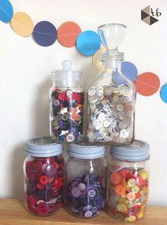 Old Kilner jars, great for organising buttons.
