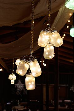 Wedding Reception For Ann ~ Clusters of frosted LED mason jar lights hung from the ceiling at this rustic barn wedding. - See how this bride and groom used mason jars and LED lights to make stunning DIY wedding lighting. Trendy Wedding, Perfect Wedding, Fall Wedding, Dream Wedding, Wedding Country, Wedding Rustic, Rustic Weddings, Outdoor Weddings, Vintage Weddings