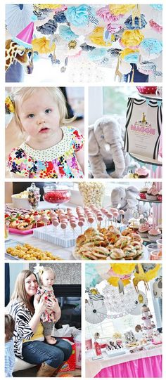 Maggie's Animal Parade 1st Birthday /   This graphic-designer mom admits to getting most of the ideas for this party from other blogs and Pinterest, and she admits that it was a painstaking process, but the result is an incredibly inspired First Birthday Party that's bursting with ideas.   See more about this party from Paper + Ink