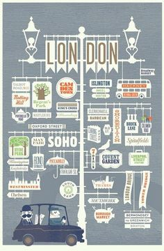 City Series Poster by Jim Datz - London Poster Design, Graphic Design, Map Design, Vector Design, City Poster, London Illustration, Type Illustration, Sketch Note, London Calling
