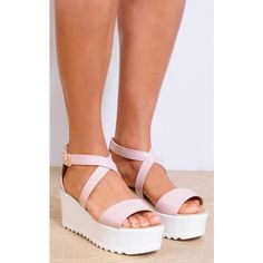 Shoe Closet Nude Flatform Sandals With Cleated Wedge Platform Peep Toe (20.450 CRC) ❤ liked on Polyvore featuring shoes, sandals, neutral, patent leather sandals, nude platform shoes, wedge sandals, nude wedge sandal and flatform sandals