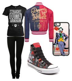 """Harley and Joker"" by fangirlmendes on Polyvore featuring MM6 Maison Margiela, Casetify and Converse"