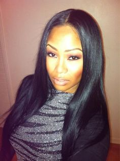 love Tae Heckard. Pin straight,middle part.