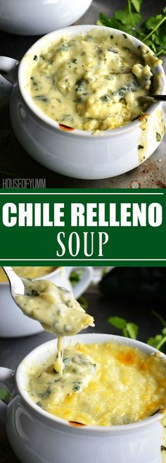 A creamy poblano soup topped with an open faced chile relleno. This chile relleno soup is exactly that. A rich, creamy poblano soup topped with Mexican Food Recipes, Soup Recipes, Vegetarian Recipes, Cooking Recipes, Keto Recipes, Cabbage Recipes, Chili Recipes, Veggie Recipes, Yummy Recipes