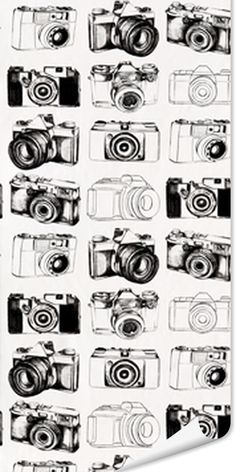 Papier peint CAMERA BLACK coloris blanc
