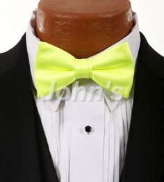 Neon Yellow Simply Solid Bow Tie
