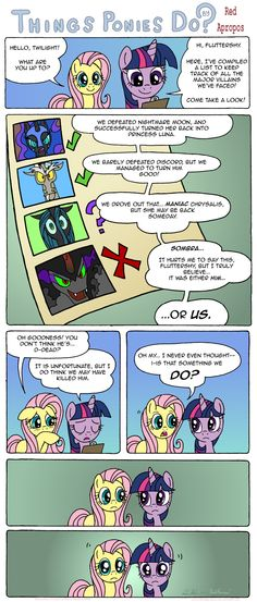 Things Ponies Do by *RedApropos on deviantART. You know that's a good point...are they killing off the villains now?