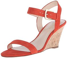 Nine West Women's Kiani Suede Wedge Sandal, Red/Orange, 9 M US - Brought to you by Avarsha.com