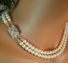 White Cultured Pearl Necklace17inch 18inch AA by WhitePearlGem, $99.00