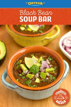 Setting up an Ortega Black Bean soup bar is a deliciously veggie-friendly way to entertain for Cinco de Mayo this year. The secret to this dish is Ortega Homestyle Salsa, which is a quick hack to impart some big flavor to the soup. Make a bar of fixings, like fresh lime, avocado, cilantro, and onions so that your guests can make their bowl their own! Vegan Meals, Healthy Dinners, Vegan Recipes, Cooking Recipes, Taco Bell Recipes, Mexican Food Recipes, Soup Recipes, Soup Bar, Nibbles For Party