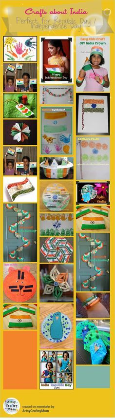India Republic Day Crafts - Crafts about India - Flag, National Symbols Camping Activities For Kids, Preschool Activities, Diwali Activities, India For Kids, India Crafts, National Symbols, National Flag, India Independence, World Thinking Day