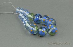 Blue Floral Beads   Bead Set of 9  by ritasbeaderynjewelry on Etsy, $21.00