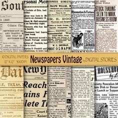"Newspapers digital paper: ""Newspaper Vintage"" Old newspapers for scrapbooking, invites, cards, background"