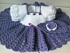 Crochet cotton baby dress, purple and white baby dress. $42.00, via Etsy.