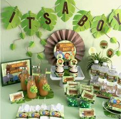 Dessert table at a jungle baby shower party! See more party planning ideas at CatchMyParty.com!